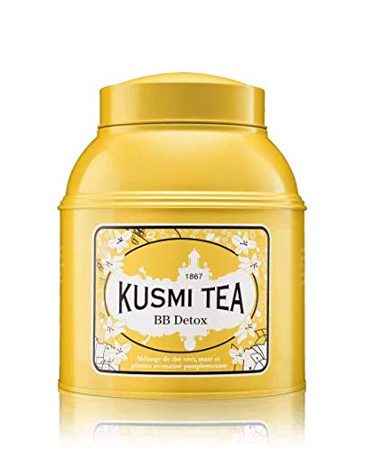 Kusmi Tea - BB Detox - Organic Green Tea with Yerba Mate, Rooibos, Guarana, Dandelion Infusion with a Hint of Grapefruit - 17.6oz of Natural Premium Loose Leaf Green Tea in Metal Tin (200 Servings)