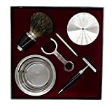 Luxury Wet Shaving Kit in Stainless Steel and Black Resin | Great as a Gift For Shaving Enthusiasts