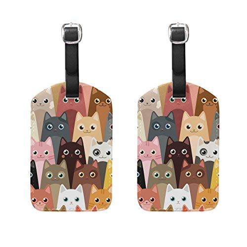 Colorful Cats Cute Luggage Tag Baggage Labels Leather for Kids Women Travel 2 Piece
