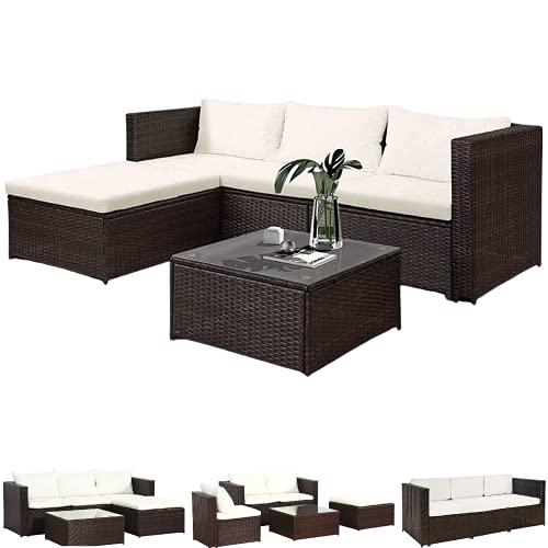 ZIK Salón de jardín para exterior de ratán, 3 sillones, 1 mesa y 1 chaise longue, sofá modular – 196 x 63,5 x 66 cm, gris antracita