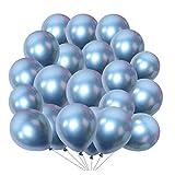 XGzhsa Globos de fiesta metalizados, Globos de látex helio, Paquete de 50 piezas Globos decorativos metálicos para fiesta Cumpleaños Aniversario Boda Graduación Navidad Año Nuevo (Azúl metálico)