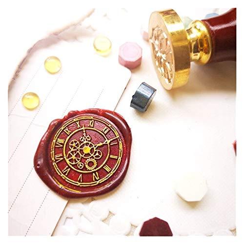 KIILING Reloj cera sello sello cabeza vintage sellos para scrapbooking felices fiestas artesanales (Color : Wooden handle)