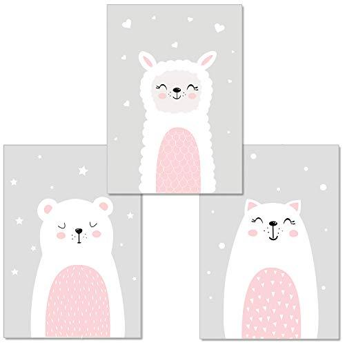 artpin® 3er-Set Poster Babyzimmer von Künstlerin - im skandinavischen Stil | A4 Bilder für Mädchen Junge | Bear Katze Schaf Grau(P11)