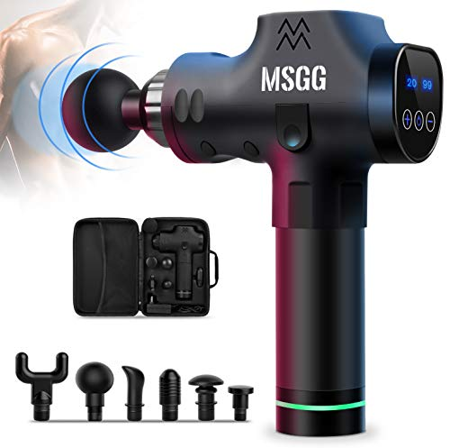 Massage Gun, Deep Tissue Massager, 20 Speed, 2500mAh Cordless Electric Percussion for Muscles, Back, Foot, Neck, Shoulder, Leg, Calf Pain Relief, Quiet Powerful with 6 Heads & Portable Case