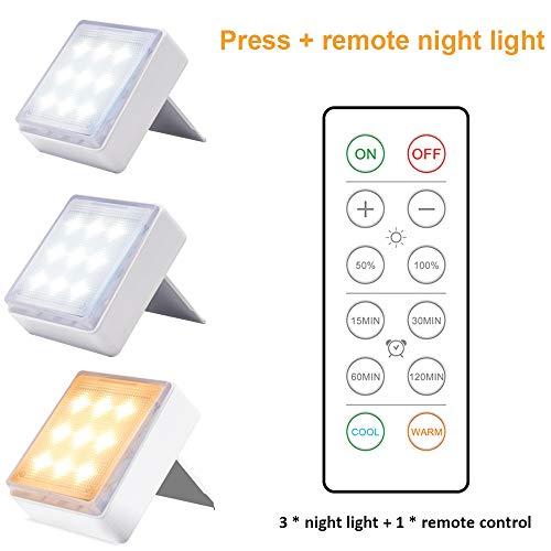 LED-afstandsbediening Nachtlampje Dimbare pers met afstandsbediening Traploos van kleur veranderend gangpad Trap Gangkast Nachtkastje Licht set van 3 stuks