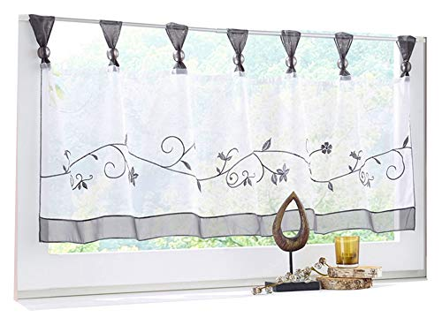 HomeyHo Short Curtain Valances for Windows Curtain Sheer Kitchen Tier Curtain Floral Sheer Curtain Tab Top Sheer Cafe Curtains Lace Sheer Curtain for Bed Short Curtain Kitchen, 18 x 47 Inch, Grey