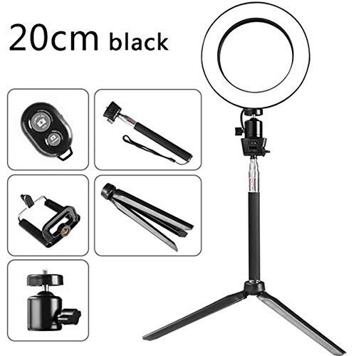 Ruiqas 5-in-1 USB-ringlicht-koplamp met bluetooth-trigger selfie-stick-telefoonklemmer-statief