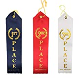 1st, 2nd and 3rd Place Winner Award Ribbons (36 Pack) 12 of Each Place. Navy Blue, Red and White with Gold Writings! Includes Event Card & String
