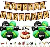 Juego de suministros para fiesta de cumpleaños de mago mágico - Miotlsy Decoración para Cupcakes de Cumpleaños con Tema de Mago, Pancarta de feliz Cumpleaños para Harry con Temática de Mago