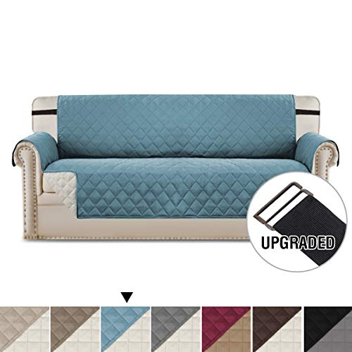 H.VERSAILTEX Sofa Cover Couch Covers for Dogs Water Repellent Furniture Covers for Pets, Premium Elastic Straps Stay in Place, Quilted and Reversible (Sofa 75x110 Inch, Stone Blue/Beige)