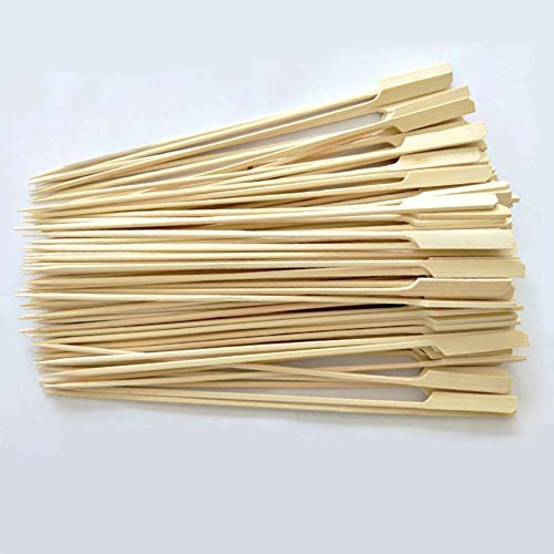 JUHONNZ Brochetas Barbacoa,100 Pcs Pinchos Barbacoa de Bambu,Palos de Bambu para Parrilla y Aperitivos Palitos de Madera,Pinchos para Espetos de Sardinas Buffets,25cm