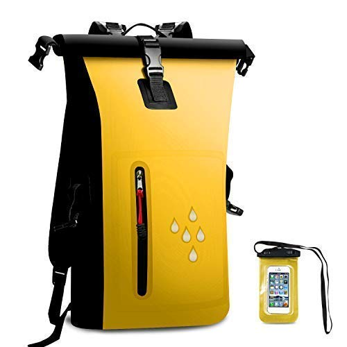 AMASENG Waterproof Backpack Dry Bag 25L Dry Sacks 500D PVC Heavy Duty RollTop Closure with Zipper Pocket with IPX8 Waterproof Phone Case for Kayaking Rafting Boating Camping Hiking