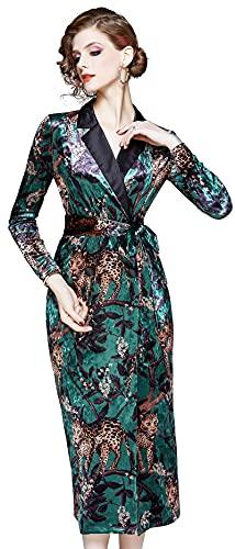 Women's Velvet V Neck Long Sleeves Blazer Midi Dress with Belt