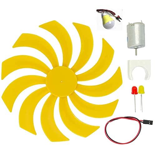 KOIJWWF Pequeño generador de turbinas eólicas Micro Motor a turbinas eólicas Generar Blades de Ventilador de Electricidad Modelo Kit de Bricolaje para la enseñanza Experimento de Ciencias físicas