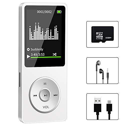 Aigital MP3 Player, Portable HiFi Lossless Sound Music Player with 32 GB Micro SD Card and Support Up to 128GB, Support Photo Viewer, Game/E-Book, Built in Speaker-White