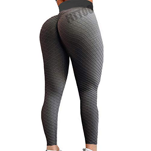 FITTOO Womens High Waist Fishnet Textured Workout Leggings Booty Scrunch Yoga Pants Ruched Tights Black M