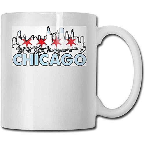 Bandera de Chicago Taza de cerámica Taza Tazas de café personalizadas Taza de viaje de cerámica Taza de té 330ml (Blanco)