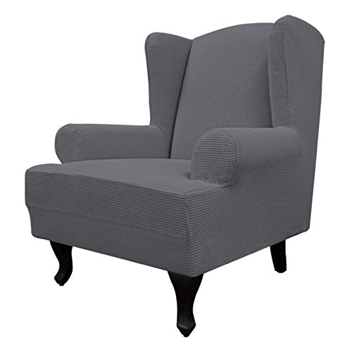 Easy-Going Stretch Wingback Chair Sofa Slipcover 1-Piece Sofa Cover Furniture Protector Couch Soft with Elastic Bottom, Spandex Jacquard Fabric Small Checks(Large,Gray)