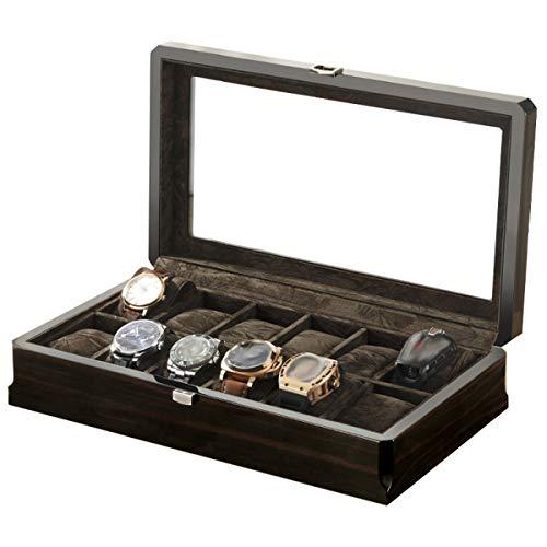 BYCDD Cajas para Relojes, Relojes Caja con Tapa de Cristal {3 Cojines...