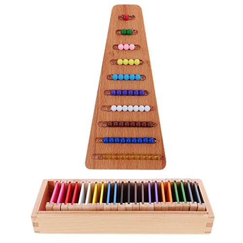 Gazechimp Montessori Mathe Bunte Perlen Treppen + Sensorial Farbe Box ( 63 Farben ) für Kinder Erziehung