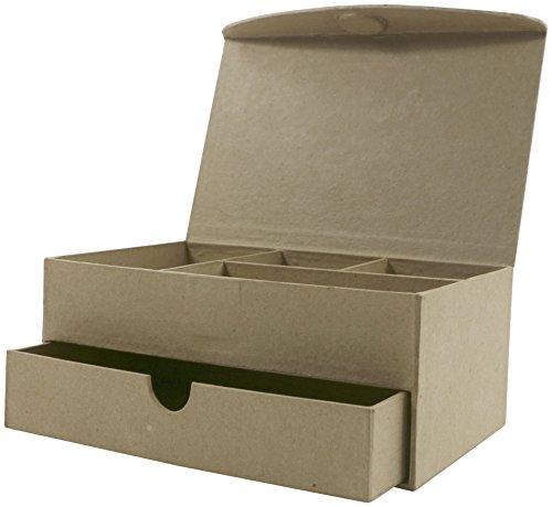 Décopatch BT025O Schmuckkästchen mit Schublade und 4 Fächern aus Pappmaché, 11 x 19 x 8 cm, zum Verzieren, mit Deckel und Magnetverschluss, perfekt für Ihre Wohndeko, Kartonbraun