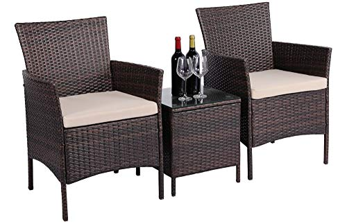 costoffs Garden Furniture Sets 3 Piece Rattan Bistro Sets 2 Seater Weaving Wicker Chairs and Coffee Table with Cushions Brown