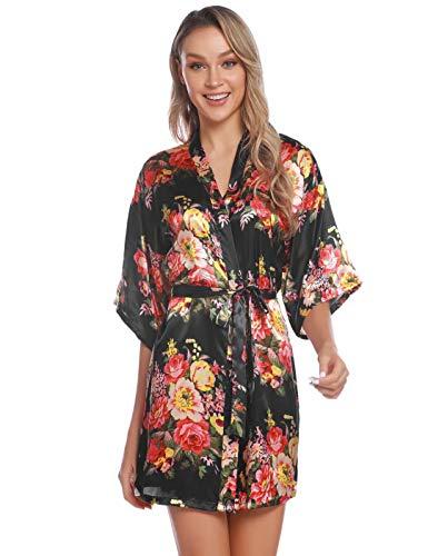 Aiboria Damen Morgenmantel Kimono Satin Mit Blumen Kurzarm Robe Bademantel Mit Gürtel V Ausschnitt Nachtwäsche