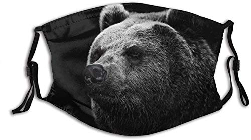 Face Mask Fiercely Bear in The Black Balaclava Unisex Reusable Windproof Mouth Bandanas Outdoor Camping Motorcycle Running Neck Gaiter for Teen Men Women Made in USA