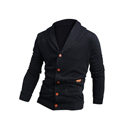 Victorcn Fashion Mens Slim V-Neck Fit Knitwear Buttons Pullover Sweater Jacket Coat (L, Navy)