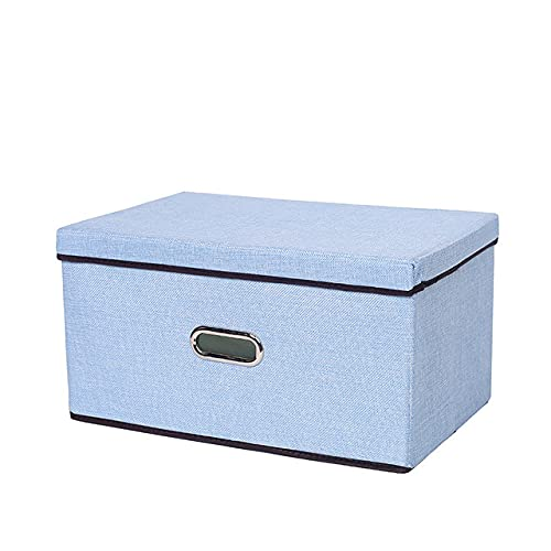 NEATMEMORY Caja de almacenaje Grande scatola di immagazzinaggio pieghevole in tessuto di lino e cotone Organizzatore di giocattoli per bambini Maniglie per armadio di casa Cassetti per camera da lett