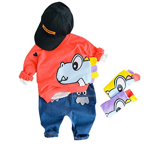 JERFER Toddler Kids Baby Boys Sweatshirt Cartoon Tops Jeans Pants Trousers Outfits Set