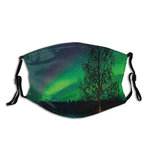 Face mask reusable Northern Lights Camping Tent Under Magnetic Field Nature Picture Balaclava Unisex Reusable Windproof Anti-Dust Mouth Bandanas Made in USA