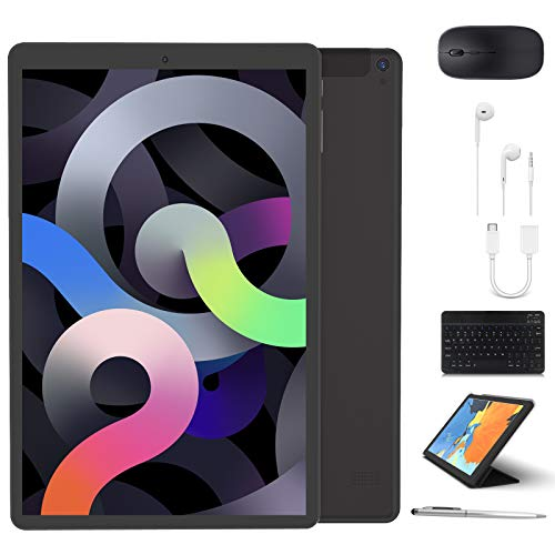 Tablet 10 inch, High Performance 2 in 1 Android 9.0 Tablets with Keyboard Case & Mouse, 3GB RAM 64GB Storage, Quad Core, Dual Sim Card, 4G WiFi, 8MP Camera, 8000 mAh, FM, GPS, Bluetooth - Black