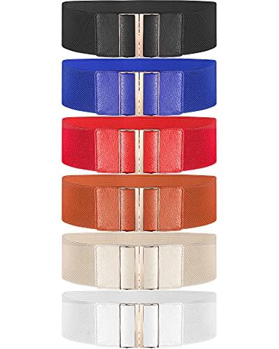 6 Cinturones Anchos de Mujer Cincha Elástica con Hebilla, Talla Única