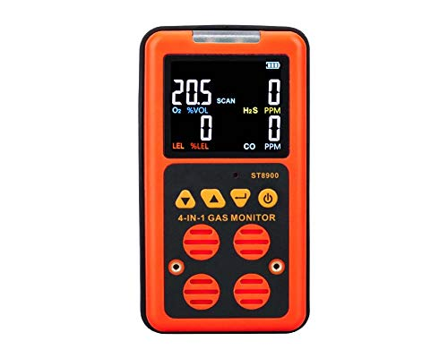 YOUYE 4 in 1 Multi-Gas-Detektor Gasmonitor Sauerstoff O2 Schwefelwasserstoff H2S Kohlenmonoxid CO brennbaren Gas LEL Gasanalysator Meter