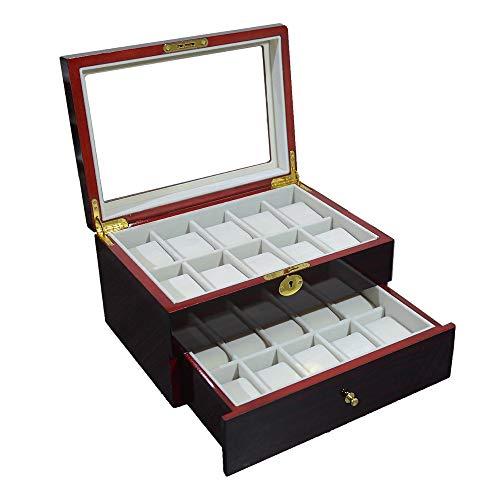NINAINAI Caja De Exhibición De Joyería Pintura de sándalo Rojo Caja de Reloj Pintura Aerosol 20 Reloj Caja de Almacenamiento Caja De Almacenamiento De Reloj (Color : Brown, Size : Small)