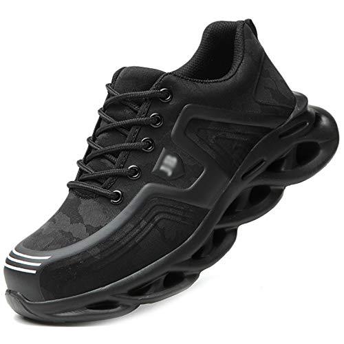 Koyike Zapatos de Seguridad Unisex con Punta de Acero Zapatos de Trabajo Resistentes a Perforaciones Zapatos Deportivos Necesidades industriales Zapatos Bajos,White-46