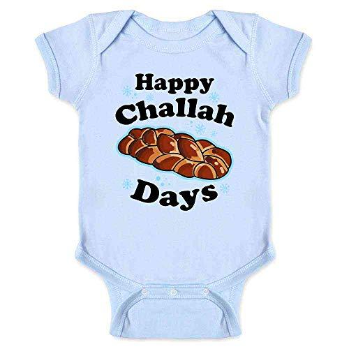 Pop Threads Happy Challah Days Funny Hanukkah Light Blue 6M Infant Baby Boy Girl Bodysuit