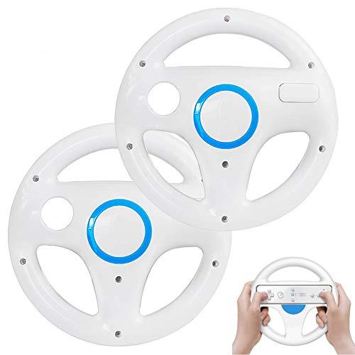 Volante de Wii para Wii Mario Kart Racing Wheel para Nintendo Wii U Remote Controller [2 unidades] (blanco y blanco)
