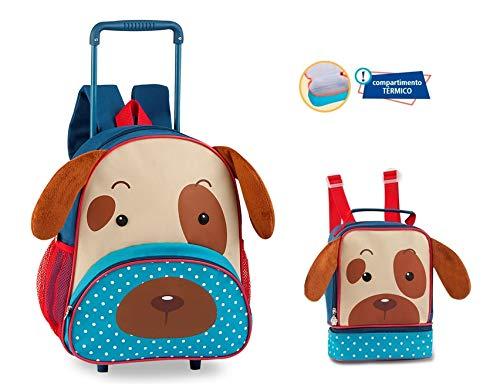 Kit Mochila De Rodinha + Lancheira Infantil Animais Cachorro