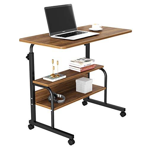 Dripex Schreibtisch Beistelltisch Dunkelbraun Computertisch mit Rollen Laptoptisch Höhenverstellbar PC Tisch 80 x 40 x 90 cm