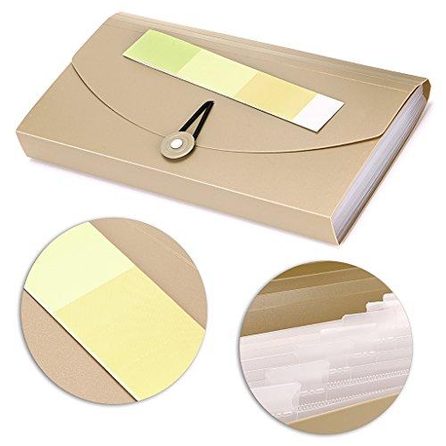 BTSKY Expanding File Folder –New 13 Pockets Small Accordion File Folder Expandable Card Ticket Holder File Storage Folder Check Bill File Folder Plastic Business Document Organizer Wallet Case(Khaki) Photo #2