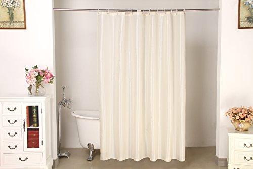 Design Duschvorhang mit Kunststoff Ringen - 100prozent Polyester Stoff Textil mit Motiven & Mustern, geeignet für Badewanne und Dusche (180 x 200 cm, Punkte, Creme)