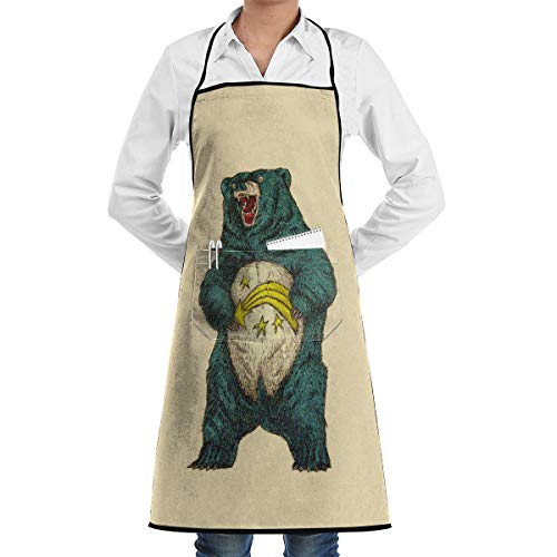 Kitchen Chef Bib Apron Bear Image Neck Waist Tie Center Kangaroo Pocket Waterproof