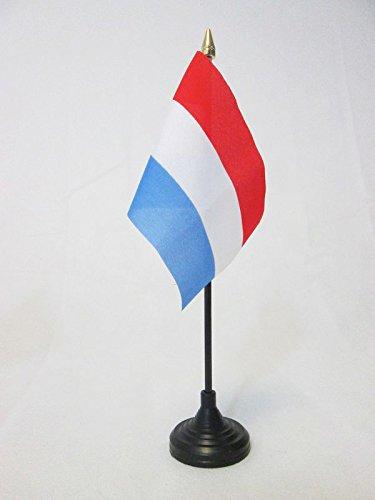 AZ FLAG TISCHFLAGGE Luxemburg 15x10cm goldene splitze - LUXEMBURGISCHE TISCHFAHNE 10 x 15 cm - flaggen
