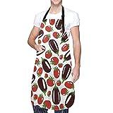 Delantal Impermeable para Adultos de berenjenas y Tomates con Bolsillo, Lavable a máquina, Delantal para Barbacoa de Cocina, 28 x 33 Pulgadas