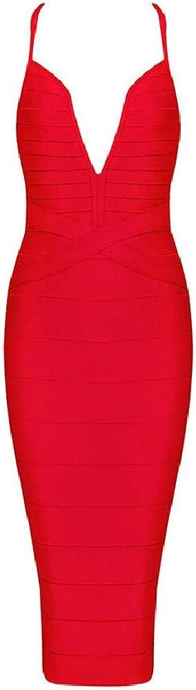 Whoinshop Women's Sexy Spaghetti Strap Deep V-Neck Back Cross Nightclub Bandage Dress