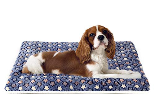 Ultra Soft Pet (Dog/Cat) Bed Mat with Cute Prints | Reversible Fleece Dog Crate Kennel Pad | Machine Washable Pet Bed Liner (24-Inch, Dark Blue)