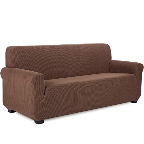 TIANSHU Funda de sofá 3 plazas Tejido Jacquard de poliéster y Elastano Fundas de sofá Suaves duraderas(3 plazas,Café)
