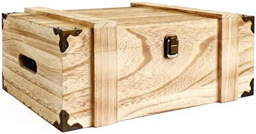Cassapanca in legno con protezione per angoli decorativi, dimensioni approssimative: 37 x 28 x 19 cm, idea per Natale, compleanno, ricordi, cassetta degli attrezzi, scatola dei ricordi